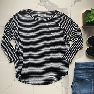 Ann Taylor LOFT Black And White Striped Top
